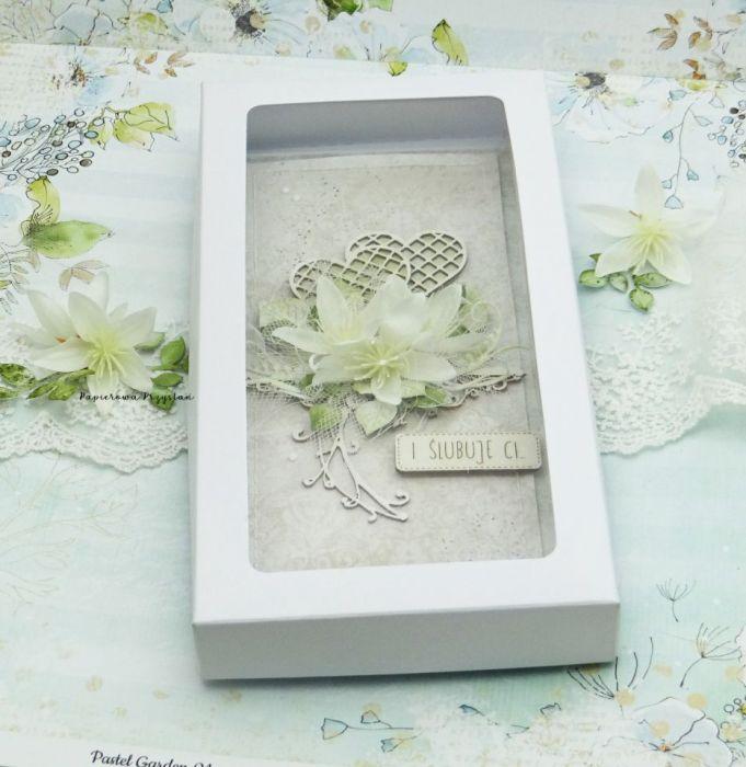 Kartka ślubna z sercami w pudełku - ślubne pudełko na pieniądze