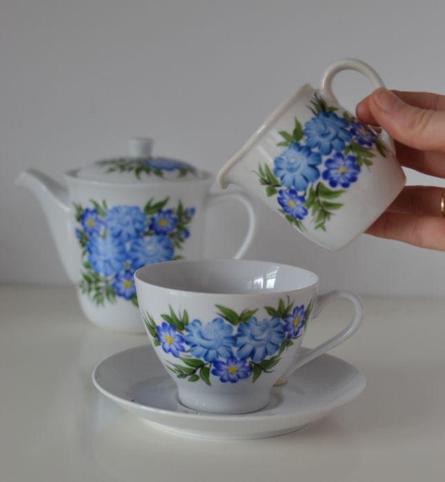 """Zestaw malowany do kawy 6 elementów ,,Niebieski klasyczny"""" - Zestaw"""