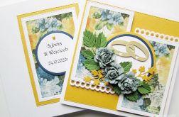 Kartka ŚLUBNA - niebieskoszare kwiaty #1