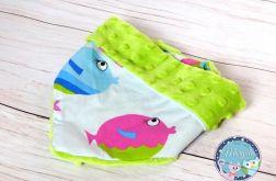 Apaszka, chustka, bandana - bawełna i Minky - zielone kolorowe rybki