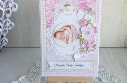 Kartka z dzidziusiem Chrzest różowa