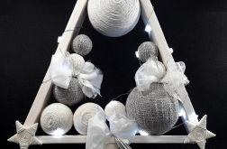Skandynawska choinka drewno popiel biel LED