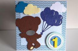 Kartka na Roczek niebieska z misiem