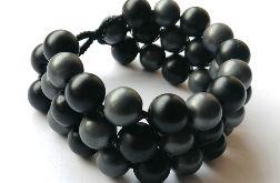 Bransoletka makrama hematyt black stone