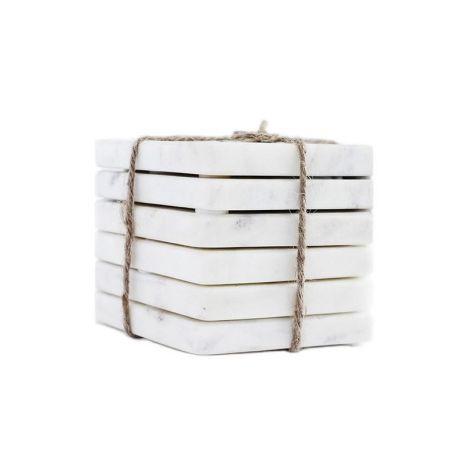 Podstawka z marmuru Bianco Carrara komplet 6