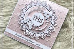 Kartka Komunijna różowa IHS 02