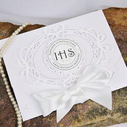 Zaproszenie na I Komunię  w eleganckiej bieli