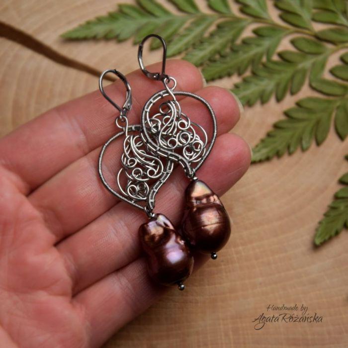 Kolczyki  ze stali chirurgicznej perły barokowe - Unikatowe i eleganckie