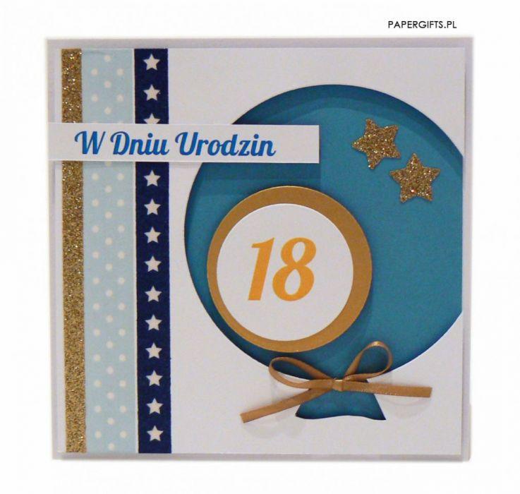 Niebieski balon kartka na 18 urodziny - Kartka niebieski balon na osiemnastkę