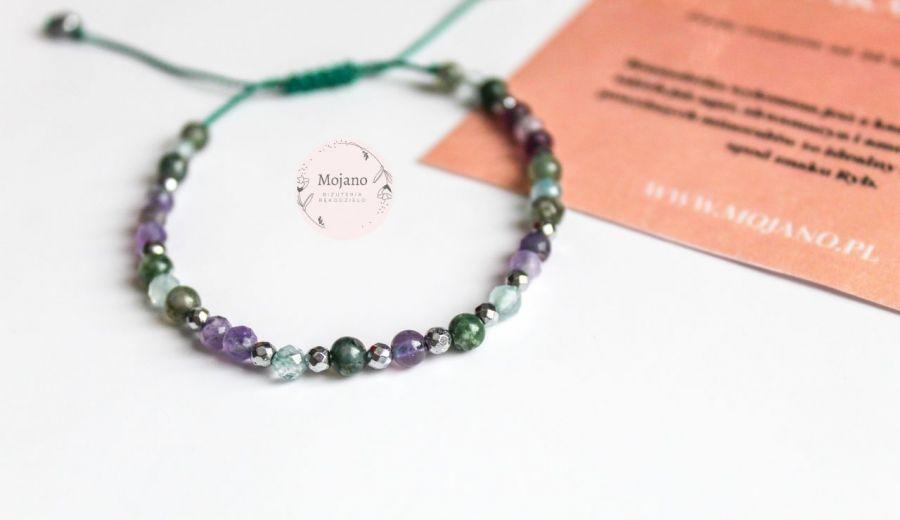 Bransoletka Ryby II - Oryginalne połączenie zieleni z fioletem.