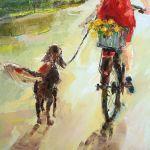 Letni spacer z przyjacielem - dziewczyna z psem