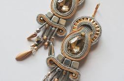 Szaro-złote kolczyki z kryształkami