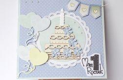 Kartka na roczek z torcikiem niebieska 220816