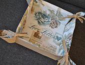 Koszyk na pieczywo  - listy i pastelowe kwiaty
