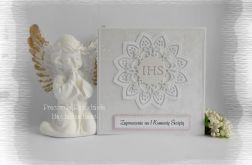 Zaproszenia IHS biało srebrne z różowym