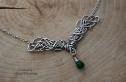 Naszyjnik z zielonym Onyksem, wire wrapping