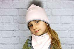 Zimowa czapka pilotka z chustą;róż