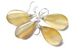 Żółto-beżowe agaty, kolczyki w srebrze