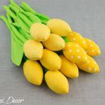 Tulipany, kwiaty z materiału żółte