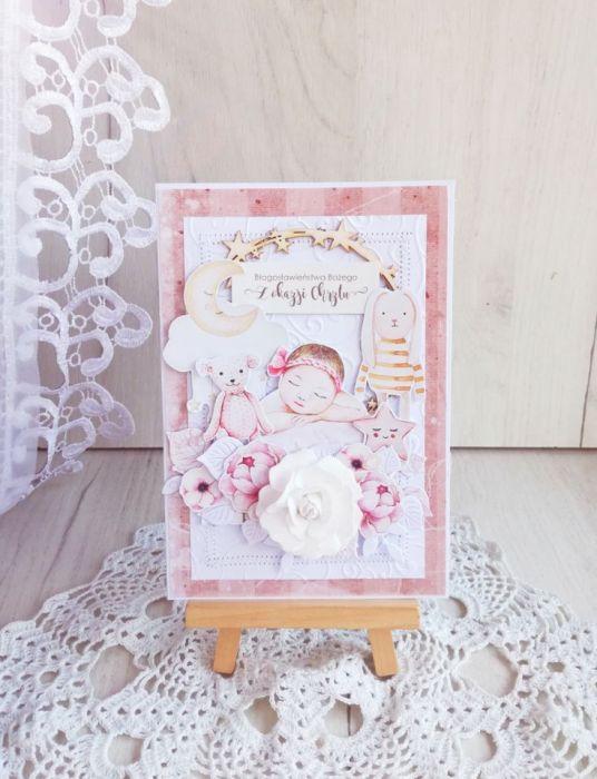 Kartka na chrzest Baby Joy dziewczynka GOTOWA