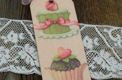 Zakładka z muffinkami i różową wstążką