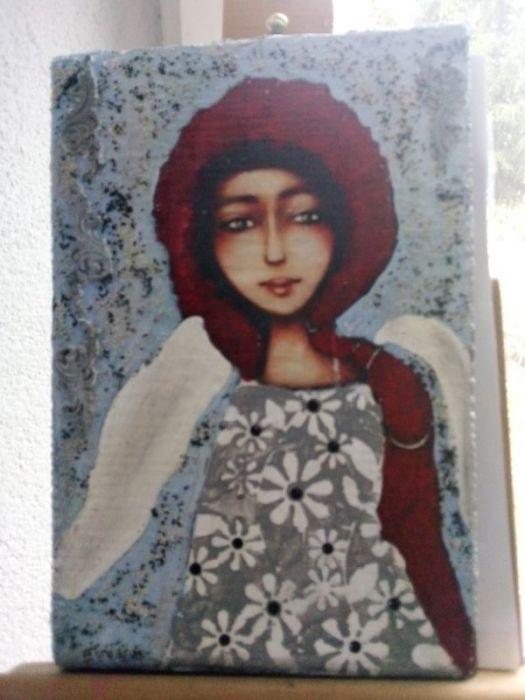 Niebieski  Anioł z warkoczem- obraz na desce