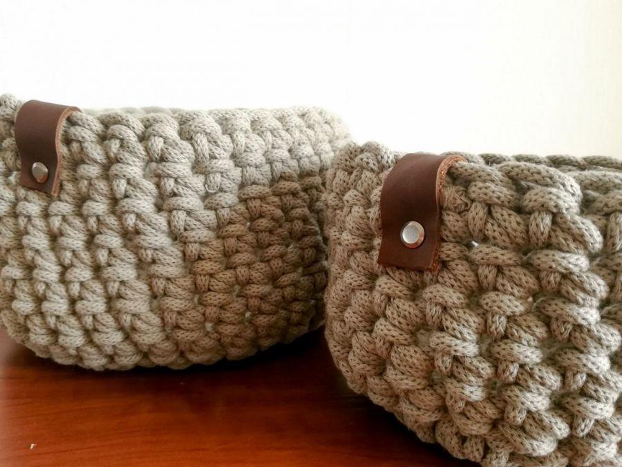 Koszyk ze sznurka bawełnianego beżowy,rozm.L