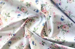 Tkanina bawełna- kwiaty jabłoni na bieli