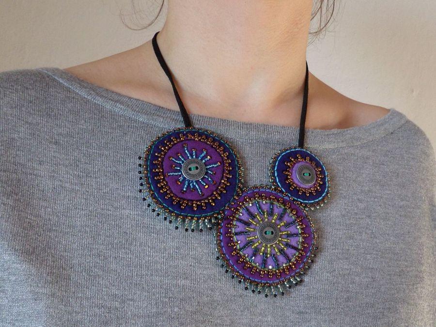 ETNO Mexico naszyjnik boho bohemian folk 002 - etniczny fiolet