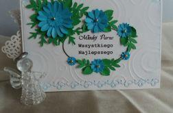 Kartka ślubna w turkusowej tonacji