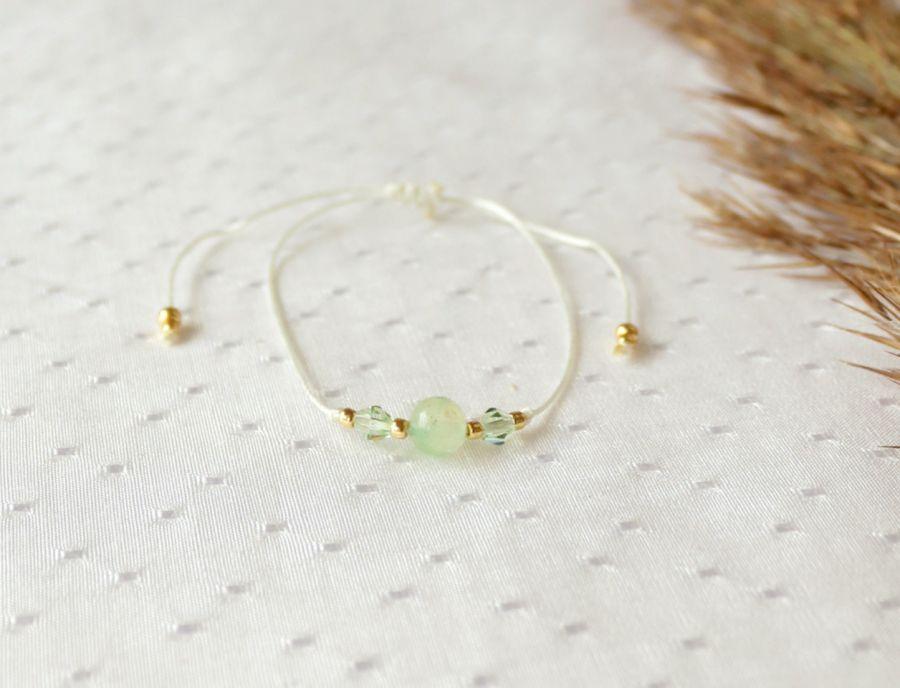 Bransoletka sznurkowa z kamieniem jadeitem - Bransoletka regulowana z kamieniem i kryształkami