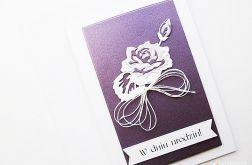 Kartka NA URODZINY - fioletowa róża