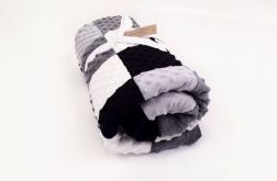 Kocyk MinkyLove black&white z wypełnieniem