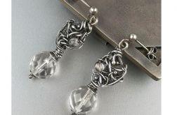 Srebrne kolczyki z kryształem górskim