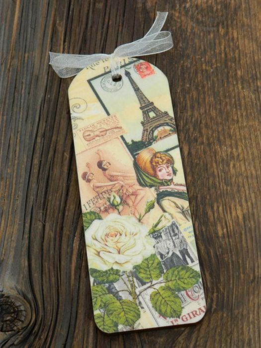 Zakładka z Wieżą Eiffla i białą różą