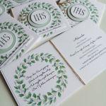 Zaproszenia komunijne - pastelowa zieleń - Zielony wianek 2