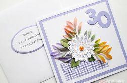 Kartka URODZINOWA z białym kwiatem