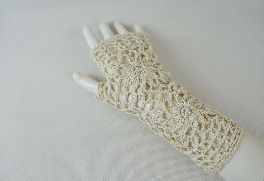Rękawiczki, mitenki handmade beżowe 01