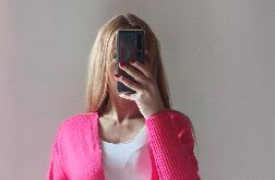 Kardigan damski oversize neon róż