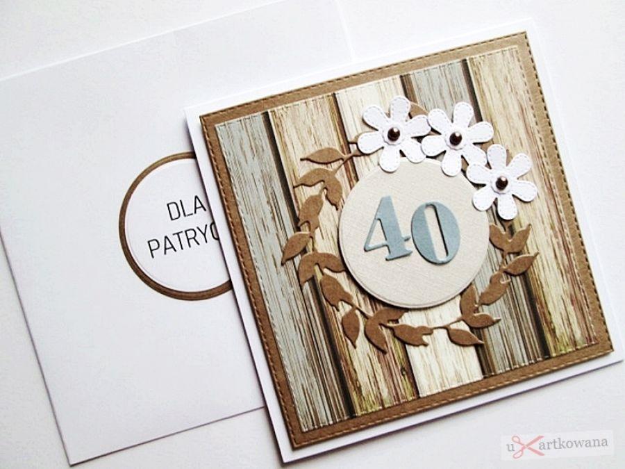 Kartka NA URODZINY z białymi kwiatkami
