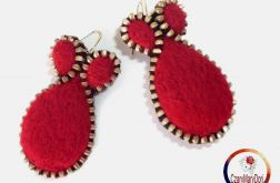 Kolczyki z zamka i filcu / Burgundy zipper earrings