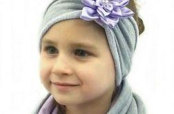 Komin, czapka i opaska szaro - fioletowe