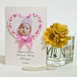 Zaproszenie chrzest roczek zdjęcie efekt 3D