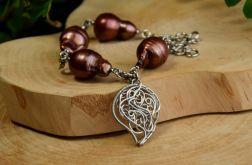 Bransoletka regulowana brązowe perły barokowe