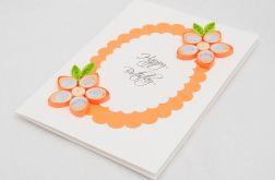 Kartka urodzinowa, quilling, pomarańczowa