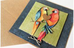 Ślubne papużki z serduszkiem