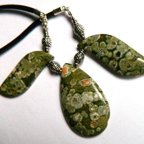 Zielony Jaspis Kambaba, unikatowa kolia