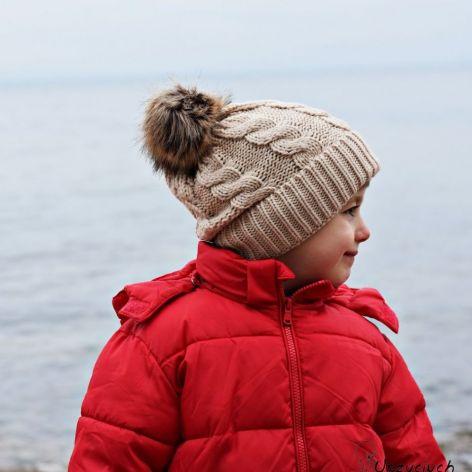 Czapka zimowa z pomponemna zimę beżowa
