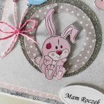 Kartka na roczek króliczek w kółku