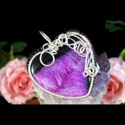 Srebrny wisior z Agatem w kształcie serca
